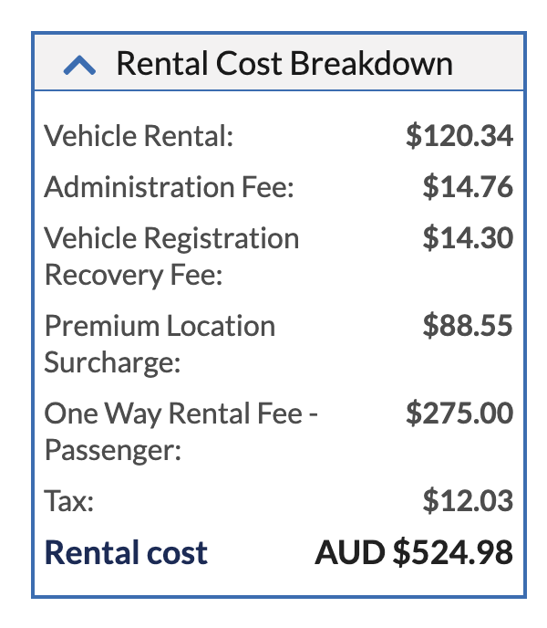 Rental cost breakdown example