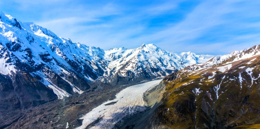 aerial view of mountains in mt cook natl park nz