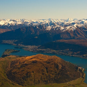 aerial view of queenstown landscape