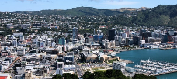 Aerial view of Wellington city, New Zealand