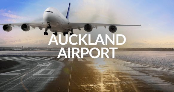 Airplane landing at Auckland airport