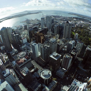 aerial view of auckland skyscrapers