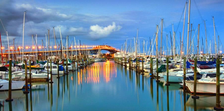 auckland harbour bridge, westhaven marina