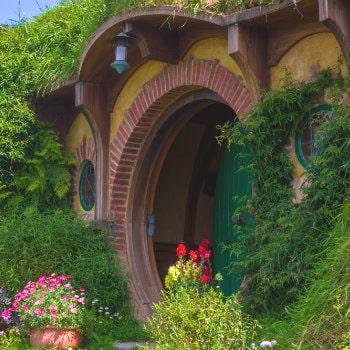 bilbo baggins home and hobbit garden in hobbiton movie set