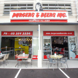 facade of burgers and beers in christchurch