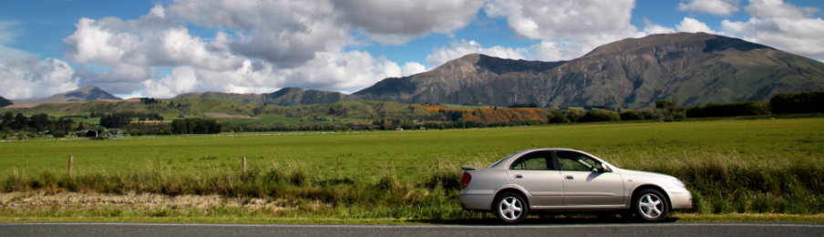 car rental at country road near queenstown, new zealand