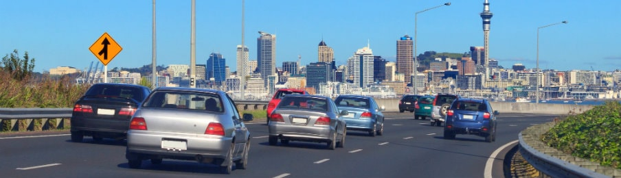 Cars on the Auckland motorway in New Zealand