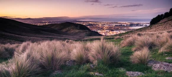 Christchurch in New Zealand during sunset