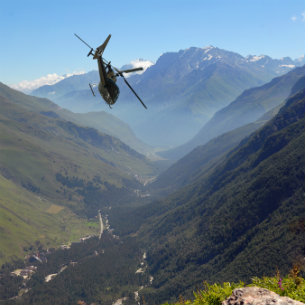 Helicopter flying in the mountain of NZ