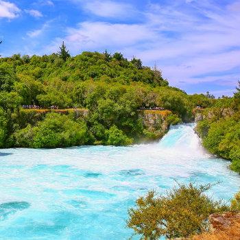 Huka falls on Waikato River that drains Lake Taupo, NZ