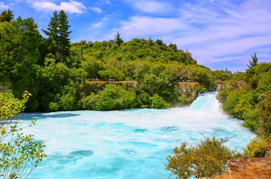 Huka falls on Waikato River that drains Lake Taupo, NZ