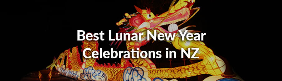 Illuminated dragon lantern during Chinese New Year in NZ