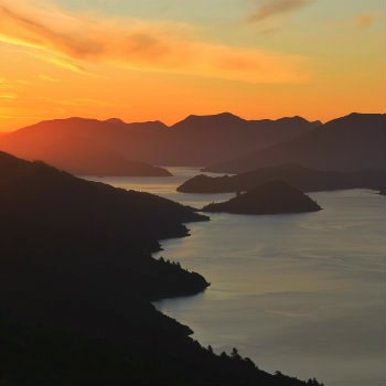 marlborough sounds at sunset nz