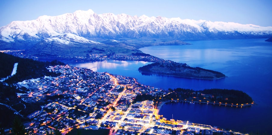 mountain cityscape and lake of queenstown