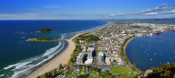 Mount Maunganui beach from the summit walking track of North Tauranga, New Zealand