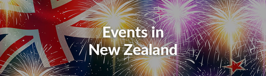 New Zealand national flag with fireworks for the event