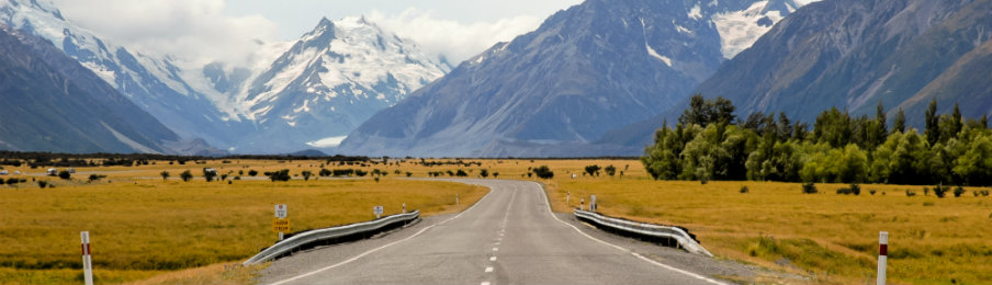 on the road to vanishing point mt. cook in new zealand