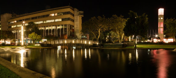 pond in the centre of palmerston north at night