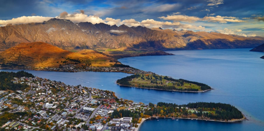 queenstown view at sunset