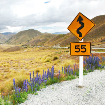 Road sign in Lindis Pass, New Zealand