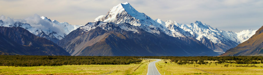 Road to Mt. Cook Southern Alps, New Zealand