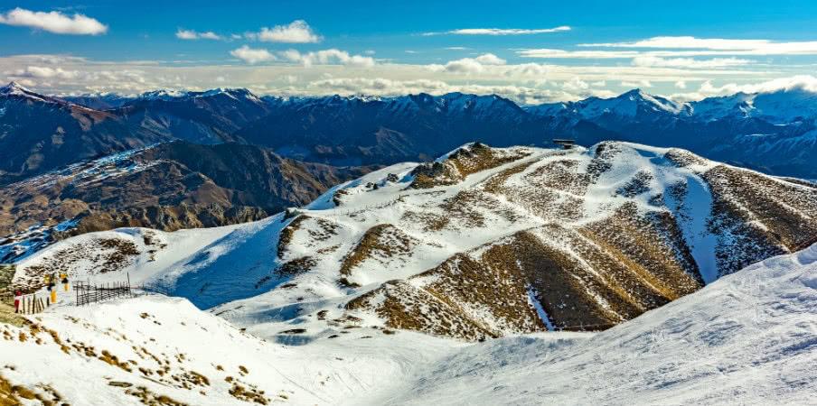 snow ski slopes from coronet peak ski resort