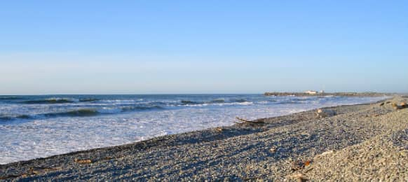 greymouth beach in evening light