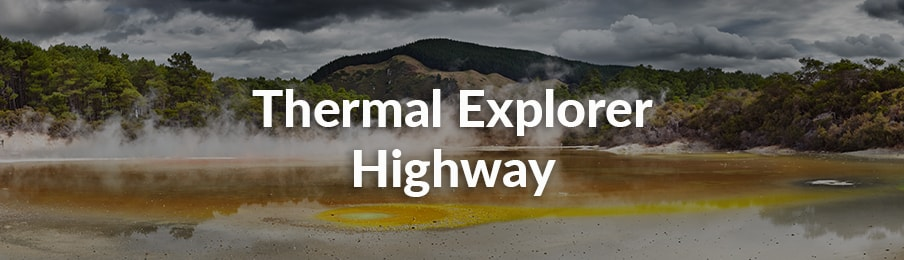 Thermal Explorer Highway in New Zealand banner