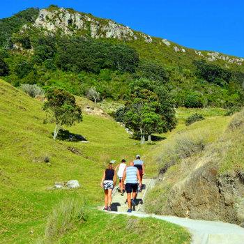 Tourists hike to the top of Mount Maunganui, NZ