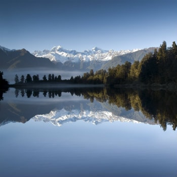 View of Mount Cook from Lake Matheson