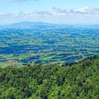 waikato region from mt pirongia with sanctuary mountain