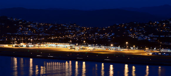 aerial view of wellington international airport at night